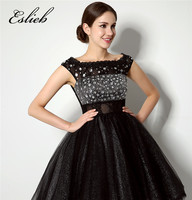 Free Shipping Custom made Little Black Dresses Cocktail Dresses 2017 Cap Sleeve Lace Zipper back Crystal Cocktail Party Dress