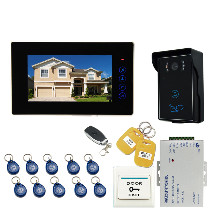 JEX 7`` Video Doorbell DoorPhone Entry Intercom System 1 monitor+700TVL Touch Key Waterproof RFID Access Camera +Remote control jeruan new 7 video intercom entry door phone system 1monitor 700tvl touch key waterproof rfid access camera remote control