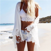Women Blouse Summer Fashion Lace Long Sleeve Printed Loose Blouse Cover-up Smock Cardigan White S/M/L/XL blusas y camisas mujer