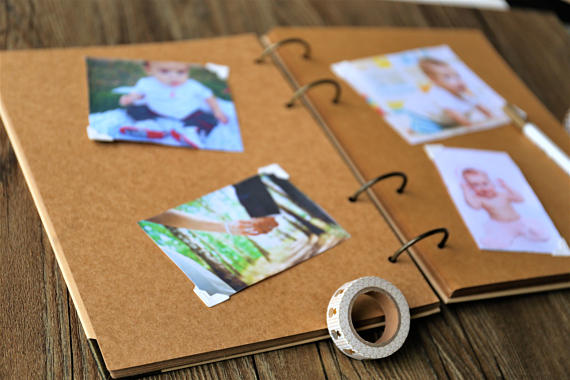 Photo Album Guestbook Personalised Custom Scrapbook A4//A5 White//Kraft Pages