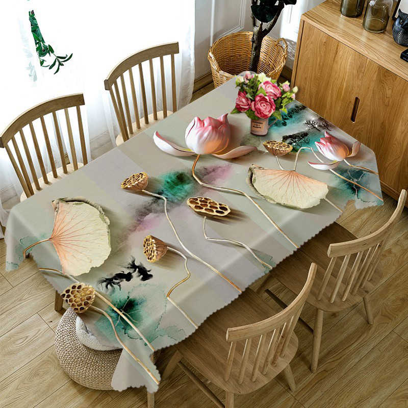 Lotus Luxury 3D Tablecloth Waterproof Coffee Dinner Party Table Cloth Round Rectangular Home Decor  Table Cover Linen Pillowcase