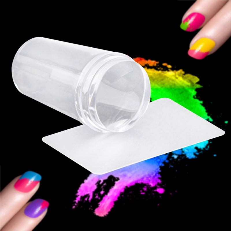 Nail Art Templates Pure Clear Jelly Silicone Nail Stamping Plate Scraper With Cap Transparent 2.8cm Nail Stamp