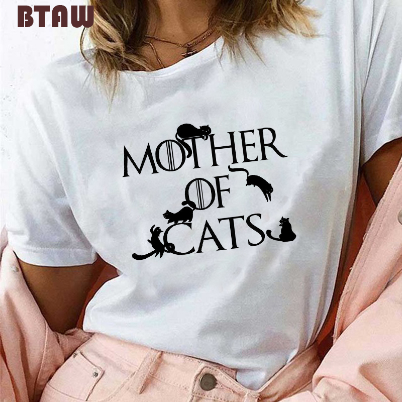 Mother Of Cats Dracarys T Shirt For Women Hot Sale Game 90s Girl Tshirt Summer Harajuku Funny Tops Tees Vogue Aesthetic Clothes
