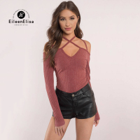 Eileen Elisa Criss Cross Blouse Women 2017 Fashion Women Sexy Long Sleeve Shirt V Neck Casual