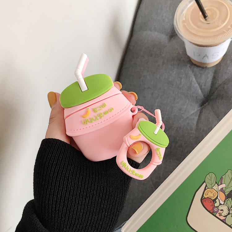 Image 4 - 3D Cute BINGGRAE Banana Strawberry Yogurt Milk Bottle Earphone Cases For Apple Airpods 1 2 Silicone Protective Headphones Cover-in Earphone Accessories from Consumer Electronics