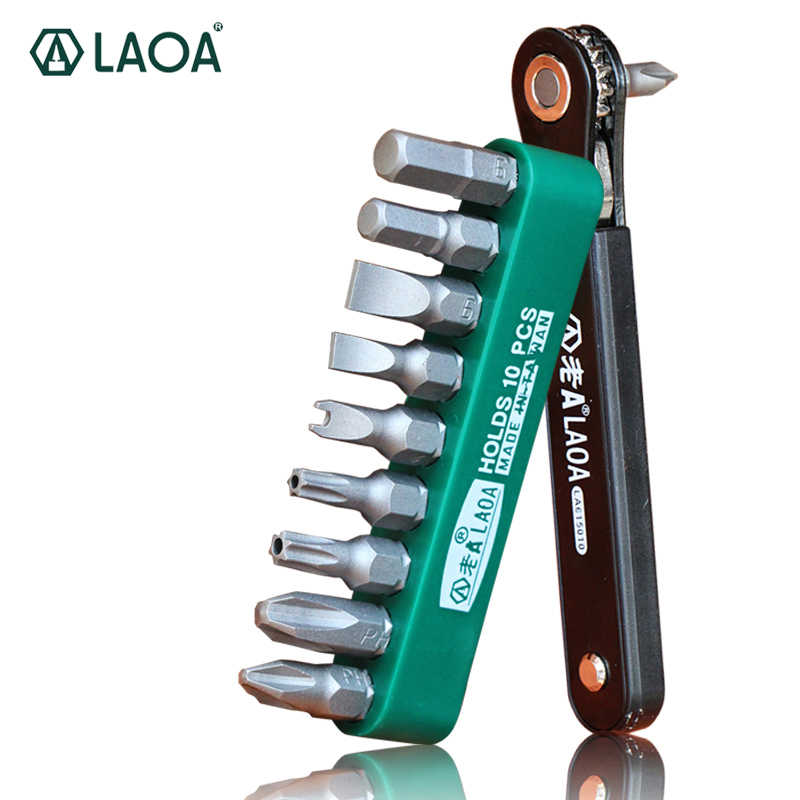 LAOA 10 in 1 Ratchet Screwdriver Set S2 Screwdrivers Forward And Reverse Multifunction Tool With Phillip Slotted Torx bits