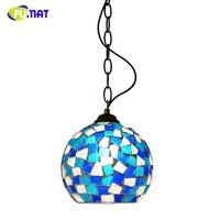 FUMAT Mozaik Kolye Işık Modern Kısa Cam Gölge Işık Oturma Odası Yemek Odası Için Mavi gölge Süspansiyon Kolye Lambalar AÇTı