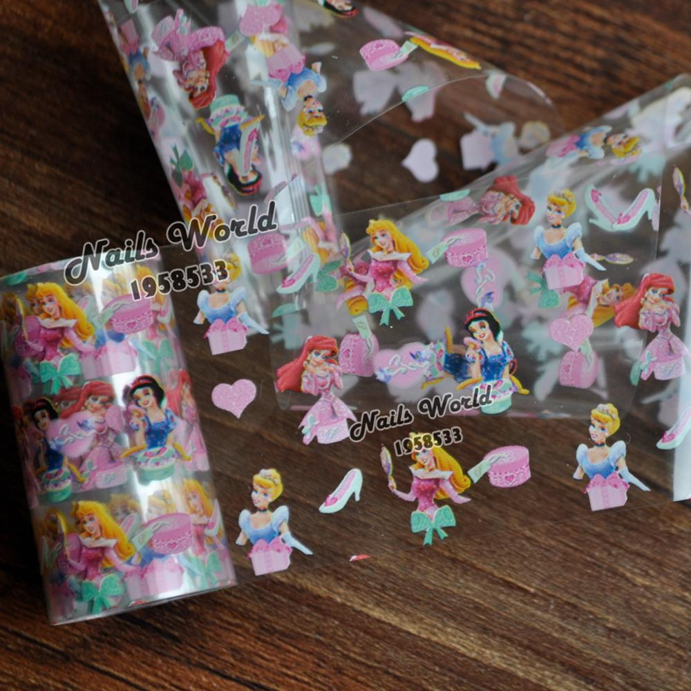 Beauty Princess Girl Transfer Foil Nail Art Stickers For Nails DIY Decorations Tools S434 bluezoo 1 roll 5cm 120m blue nail stickers transfer foil full cover nail art stickers silver scenery decals nails tools for nail