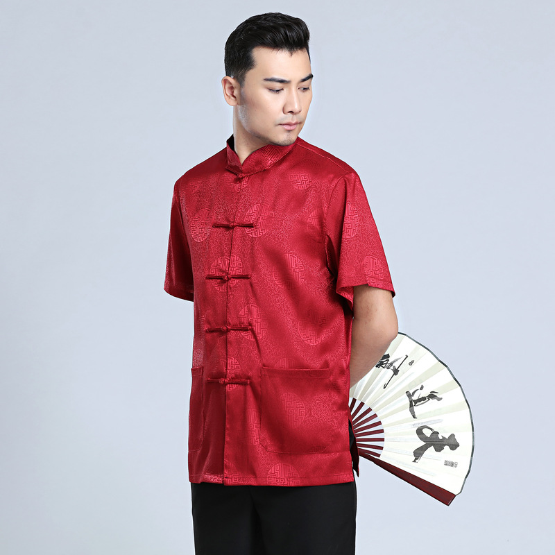 Chinese Tradtional Summer Tops Men Silk Blend Short Sleeves Shirt Size M 3XL in Tops from Novelty Special Use