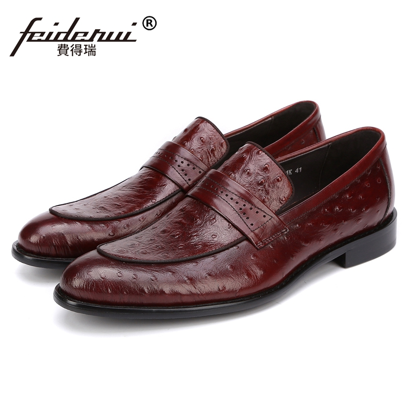 New Handmade Man Casual Moccasin Shoes Genuine Leather Comfortable Loafers Ostrich Pattern Men's Height Increasing Flats JS74 brand new men genuine leather flats man casual shoes loafers cow suede leather weddng party black handmade formal shoe d966 3