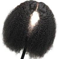 Горячие Красота волос натуральные волосы парики афро кудрявые волнистые парики бразильский Реми 13*4 кружева фронтальной парик для черный Д