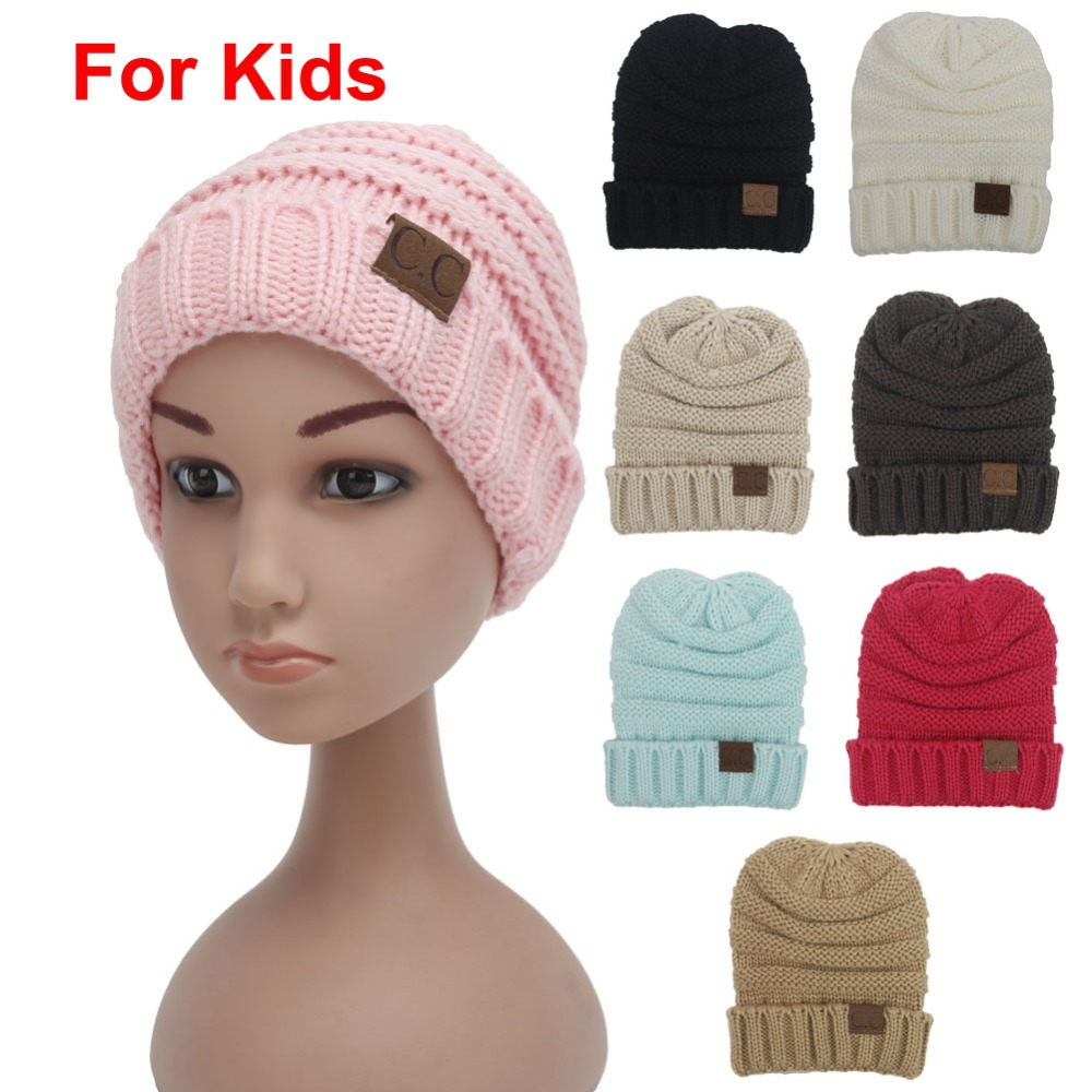 2pcs/lot Children solid 8 colors Skullies Crochet Beanies with Letter CC tag Kids hats Winter keep warm head cap Boys&girl N726 leather skullies cap hats 5pcs lot 2278