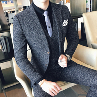 Classic Men Suits Tuxedo Slim Fit Business Banquet Mens Suit Jacket with Vests and Pants 2019 New Men Wedding Suits