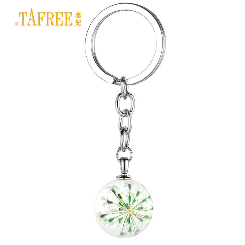 Detail Feedback Questions about TAFREE trendy boho style Real Dried Dry  Flowers crystal glass ball pendant keychain for men women bag car jewelry  key chain ... fa716c3ef2b3