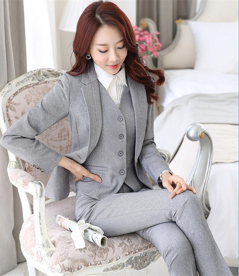 The New Grey Black Professional Formal Pantsuits for Business Women Suits OL Blazer and Pants