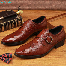 QYFCIOUFU Handmade Italy Designer Men Oxford crocodile shoes Genuine Leather Wedding Party Formal Casual Brand Male Dress Shoes все цены