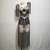 Fashion Black White Crystals Epaulet Bodysuit Sexy Women Sparkly Tassel Outfit Women Costume Singer Dance Wear