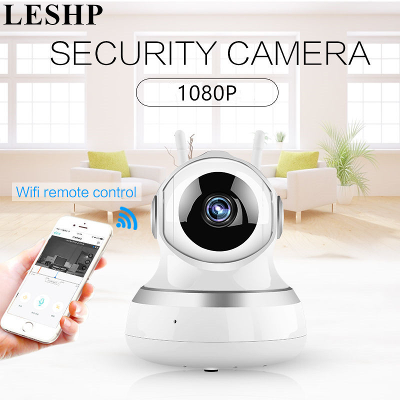 LESHP IP Camera Wireless 1080P HD Smart Wi-Fi Audio CCTV Camera Home Security Surveillance Camera Baby Monitor Dual-Aerials fpv 1 2ghz 100mw 4ch wireless audio