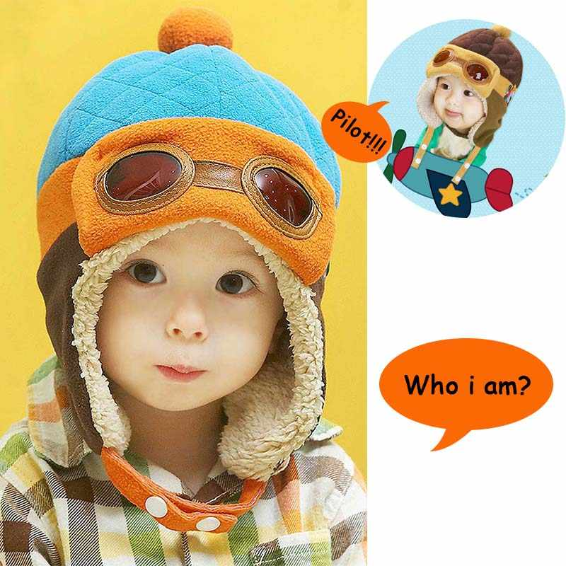 bf8a4e8c50a 2018 Cool Baby Hat With Ears Toddlers Hats Solid Infant Winter Warm Pilot  Hat For Kids