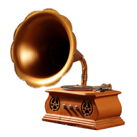 Retro Gramophone Model 3D Craft Old Furniture Table Decoration Figurine & Miniatures Vintage Home Decorations Accessories
