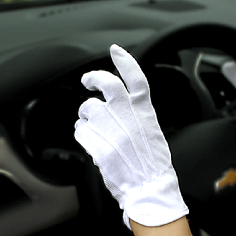 1pair Summer Thin Drive Gloves Non-Slip Men Cycling Gloves Anti UV Breathable Auto Car Driving White Cotton Gloves