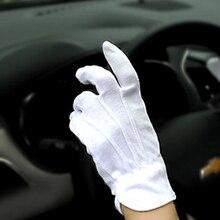 1 paar Sommer Dünne Stick Handschuhe Nicht-Slip Männer Radfahren Handschuhe Anti UV Atmungsaktive Auto auto Fahren Weiß Baumwolle handschuhe