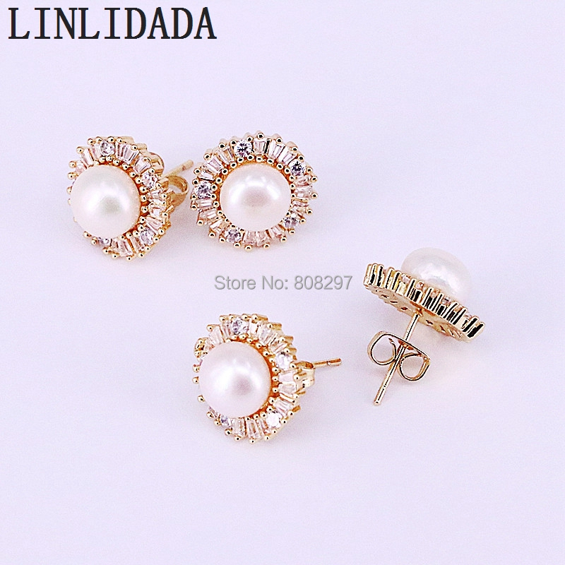8Pair Gold Color Latest round design CZ Micro Pave pearl stud earrings for women wedding party