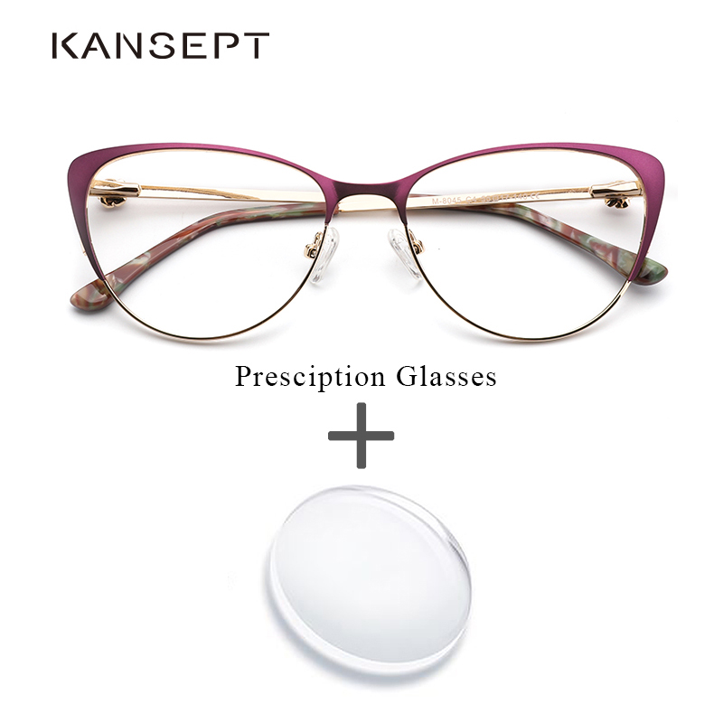 Prescription Glasses Frames Women Spectacles Myopia Cat-Eye Metal Purple Vintage High-Quality