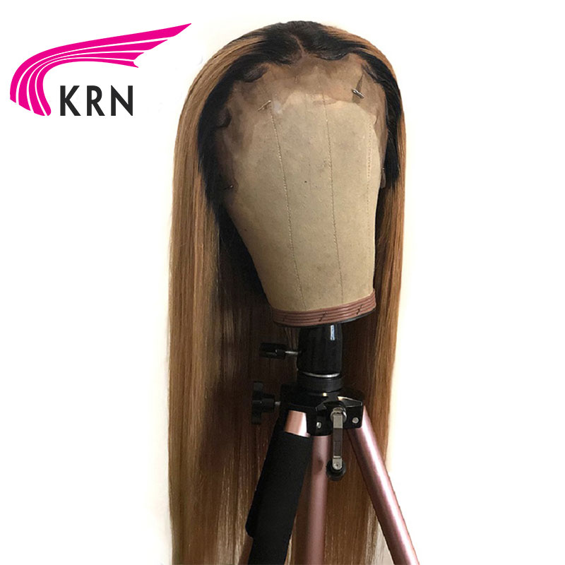 KRN 1B 27 Straight Lace Front Human Hair Wigs With Baby Hair 13x3 Ombre Color Remy
