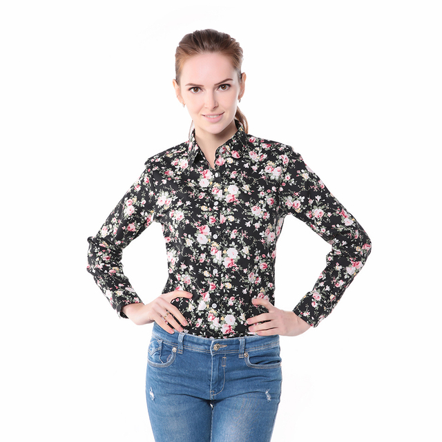 Brand New Women Floral Shirts Cotton Long Sleeve Shirt Women Floral Print Shirt Casual Ladies Blouse Turn Down Collar Women Tops
