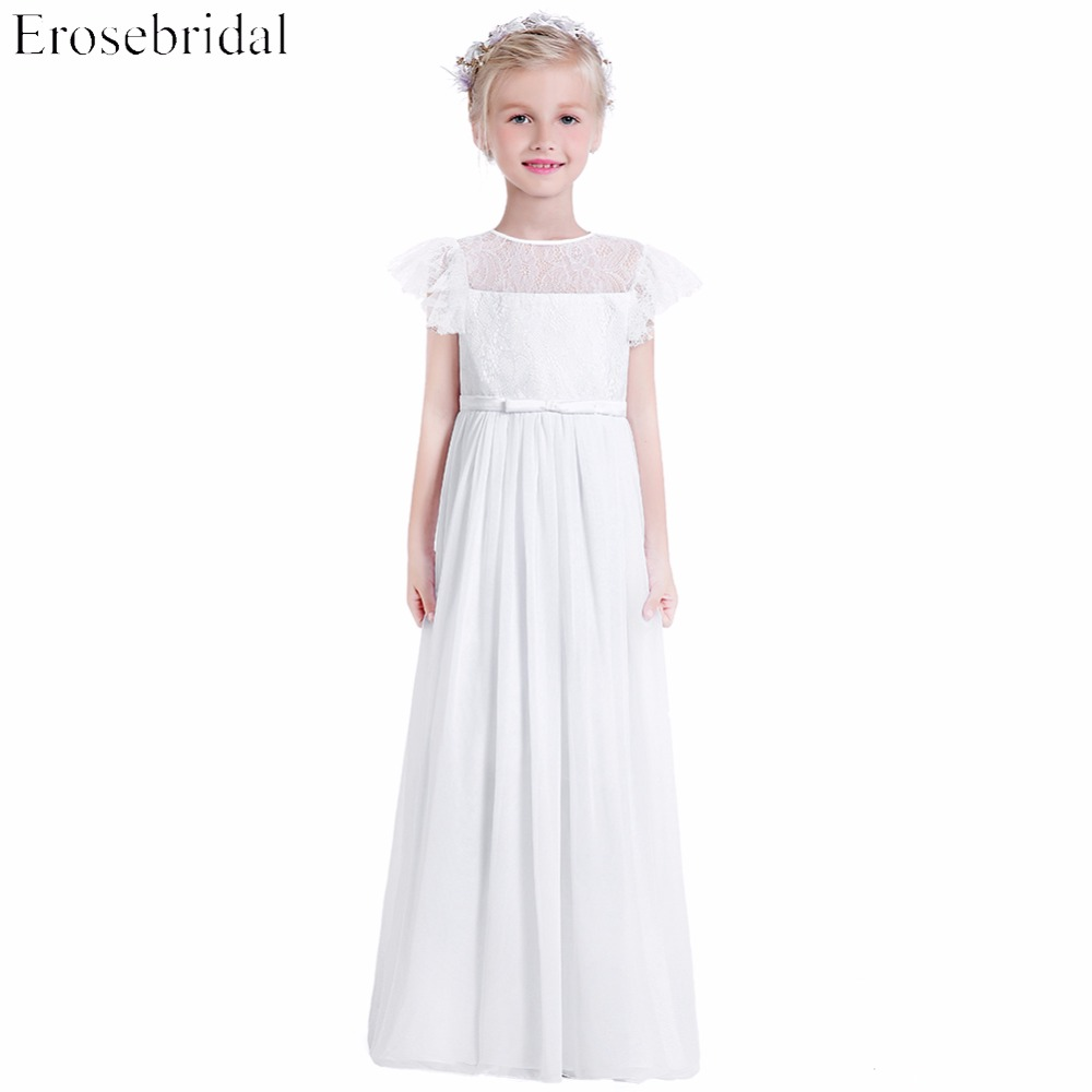 New 2019 Chiffon A Line Flower Girl Dresses Erosebridal Cheap Price O Neck Wedding Girls Dress Lace Bodice Party Gown BR-3695