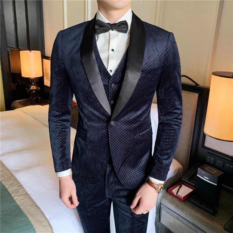 (בלייזר אפוד מכנסיים) חליפות יוקרה משתה מלאכה בולטות קטיפה סתיו וחורף slim ארוחת ערב שמלת מותאם אישית-high-end גברים של חליפות