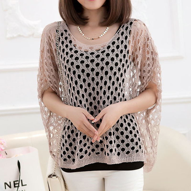 Summer Korean style new pullovers word collar bat sleeve loose large size thin hollow sweater womens clothing wholesale 7558