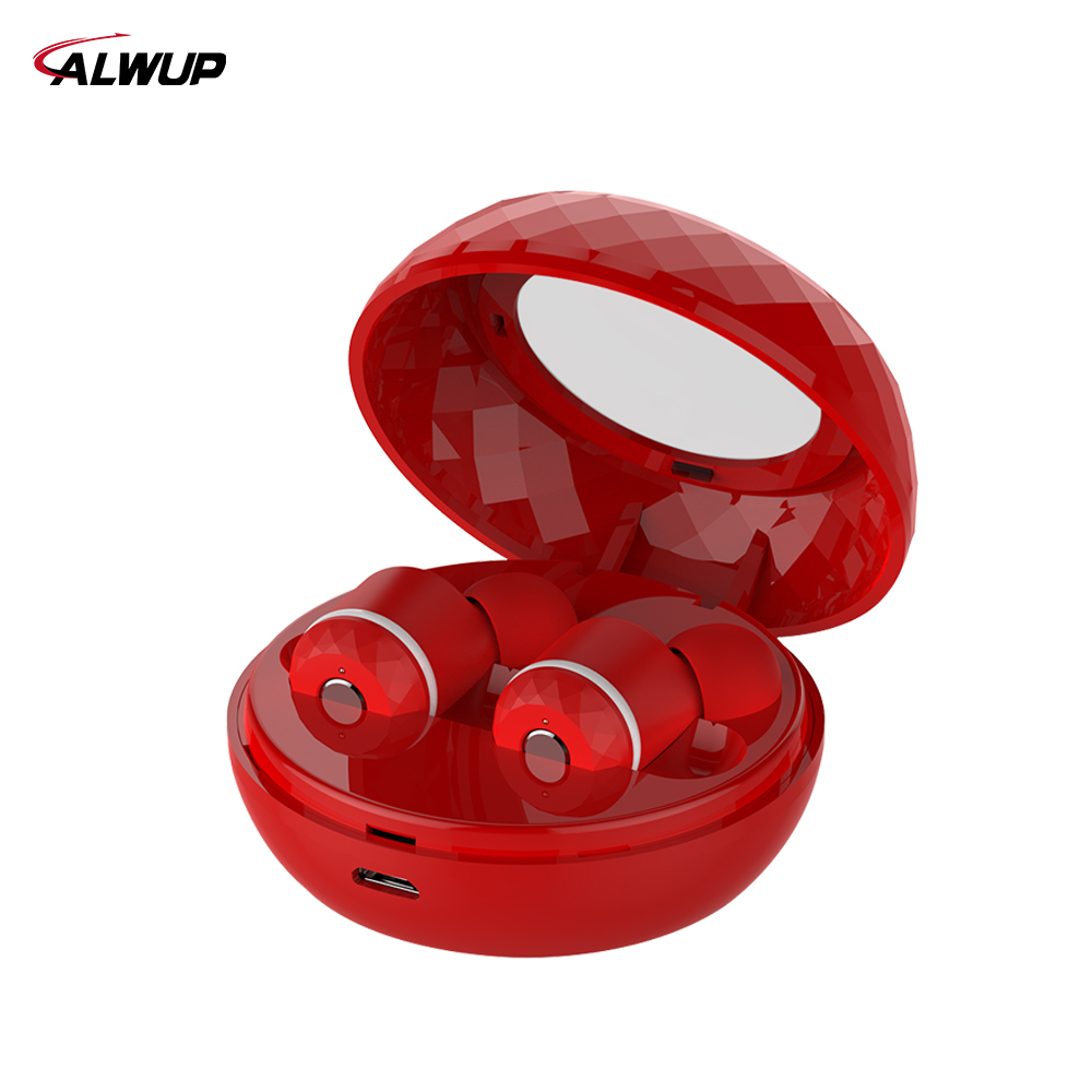 ALWUP Wireless Earphone Bluetooth headset In-ear Stereo Headphones Dual Mini Noise Cancellation Earbuds with Mic Charging Case