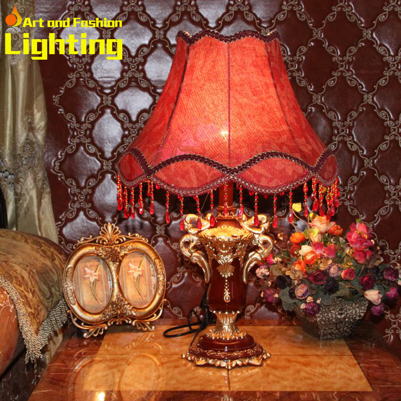 Classical Dark Red Resin Table Lamp Fabric Lampshade With Beading