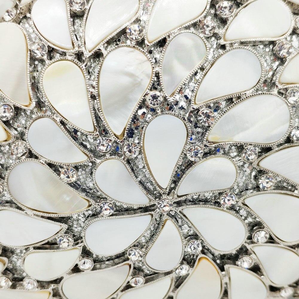 Soirée De Cristal Gold Boutique Mariage Crystal Sac Bag Fgg Embrayages Sacs Naturel Parti Main À Dur Shell Évider Femmes Bag silver Métal Cas Dames H07dx76Sqw