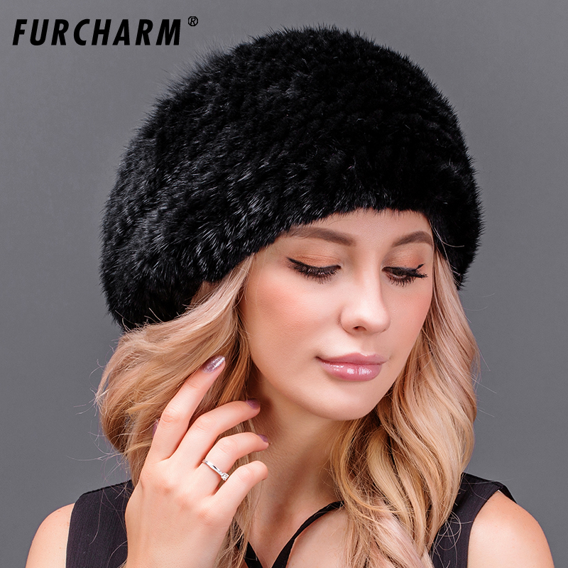 FURCHARM Genuine Mink Fur Berets Caps Women Luxury Hat with Fox Fur Pompom Ball Elegant Warm Women's Winter Real Fur Hats стоимость