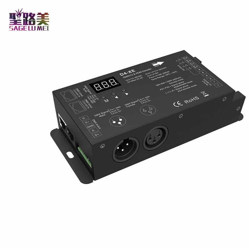 D4-XE 4CH PWM constant voltage CV DMX512 RDM LED decoder controller with digital display XLR3 RJ45 DC12V 24V 36V input 8A*4CH 4channel 4ch pwm constant current dmx512 rdm led decoder with digital display xlr3 rj45 port dc12v 48v input setting dmx address