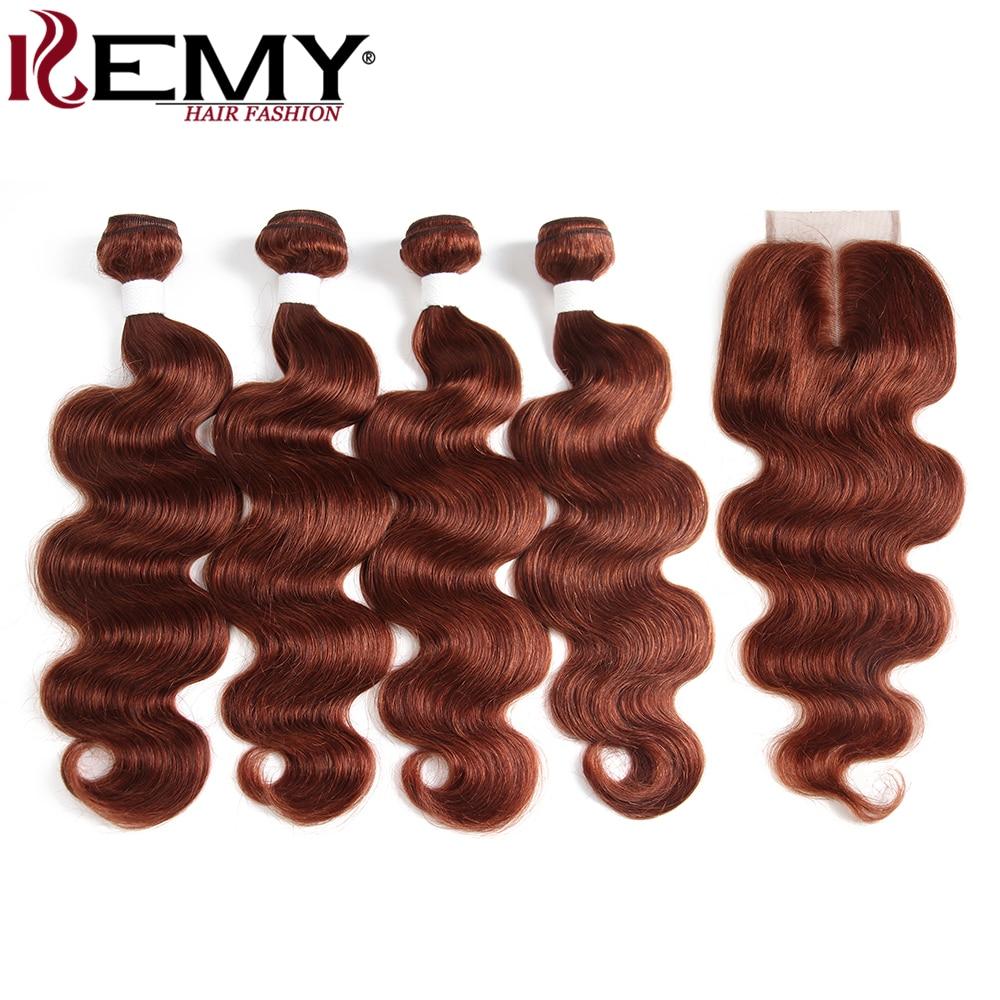 KEMY HAIR Pre Colored Human Hair 4 Bundle With 4 4 Lace Closure Auburn Color Non
