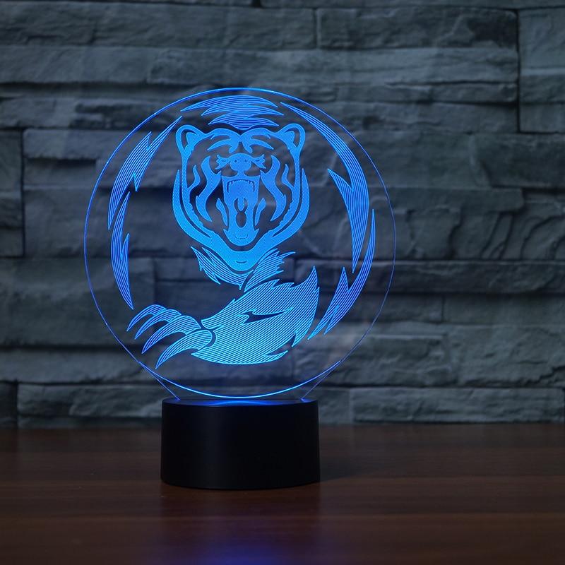 Tygrys 3d wizualne Lampa iluzoryczna przezroczyste akrylowe światło nocne Led Fairy Lampa zmiana koloru stół dotykowy Bulbing Lambas