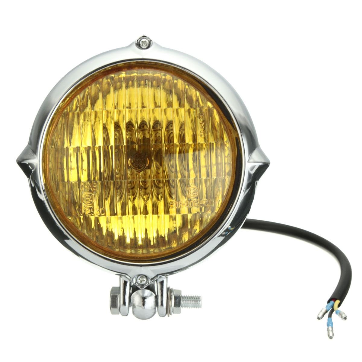 Nuevo Chrome negro 4 pulgadas faros amarillo luz lámpara para Harley Bobber helicóptero