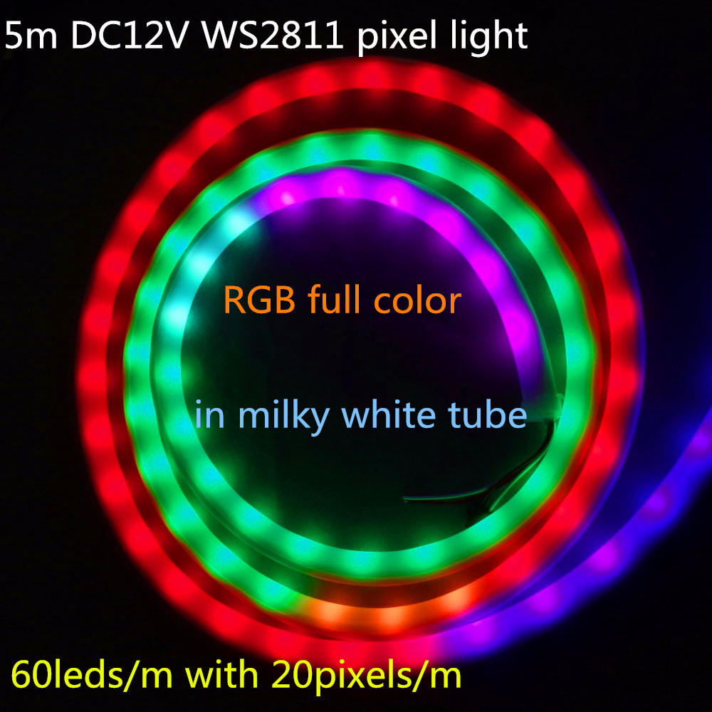 5m Dc12v Ws2811 Led Neon Pixel Light,rgb Full Color;60leds/m With 20pixels/m;waterproof In Milky Tube;ip66 Wide Selection; Commercial Lighting