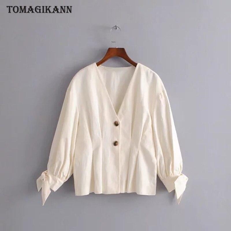2018 Vintage Solid Contrast Buttons Drap Women Blouse shirts Casual Deep V Neck Bowtie Sleeve femininas blusas Tops