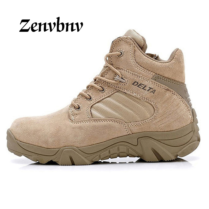 ZENVBNV Autumn winter Military Tactical Boots Round Toe Men Desert Combat Boots Outdoor Mens Leather Army Ankle Boots size 44 45