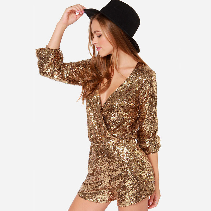 Women's Clothing Well-Educated Women Punk Style Long Sleeves Deep V Collar Loose Pattern Paillette Sequin Pattern Jumpsuit Dancing Club Leisure Rompers Fs0524
