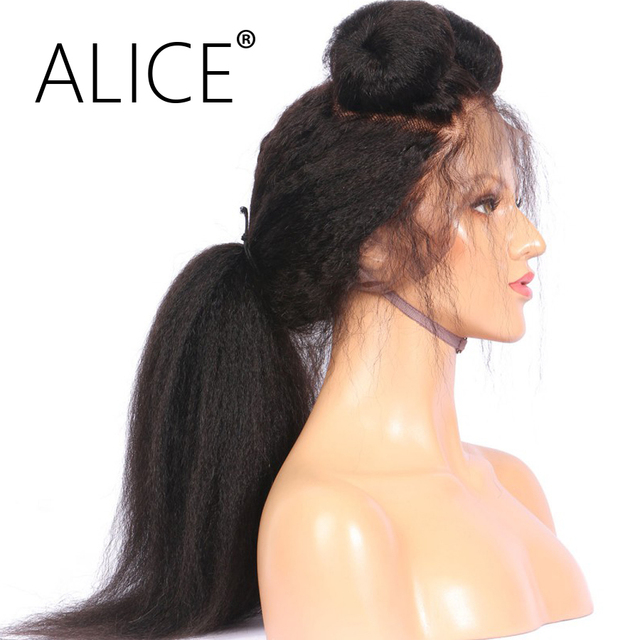 ALICE Kinky Straight Glueless Full Lace Human Hair Wigs Pre Plucked 130 Density 8-24 Inch Remy Hair Brazilian Wig Bleached Knot
