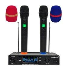 LOMEHO LO-V02 УКВ двухканальный портативный караоке-микрофон Семья вечерние беспроводной микрофон ручной беспроводной микрофон