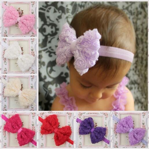 Nova Alta Qualidade Handmade Chiffon Rose Bow Faixa de Cabelo Pneu Acessórios YH509 Flor das Crianças