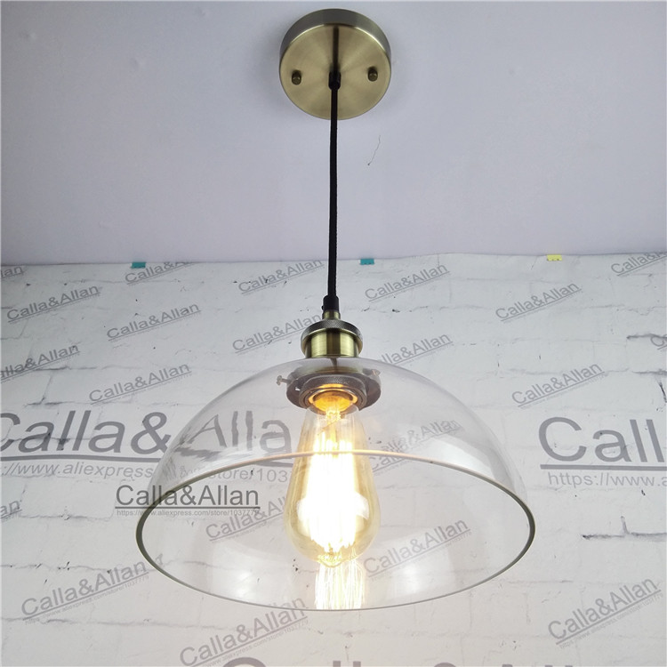 Vintage brass iron finished clear glass round shade pendant lamp vintage brass iron finished clear glass round shade pendant lamp 110v220v edison bronze fabric wire pendant light fixture in pendant lights from lights greentooth Image collections
