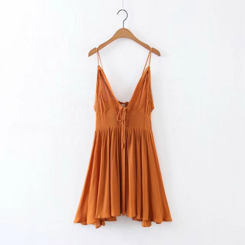 d47318756b8a Women Summer mini dress Vintage hippie Sexy Deep V neck beach sundress  DRAPED backless LACE UP boho Casual MINI party DRESSES on Aliexpress.com